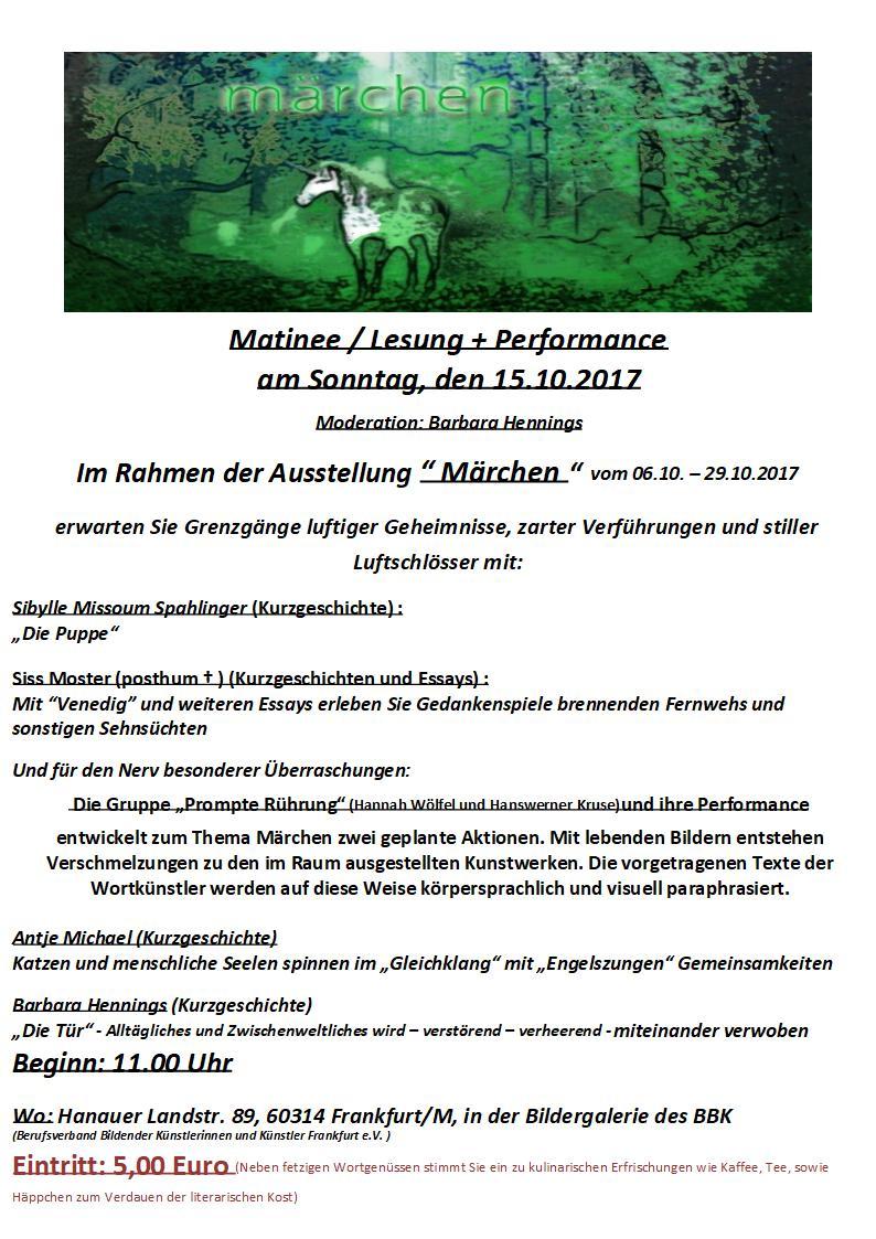 BBK Martinee 1501017 Märchen Ankündigungsflyer 2