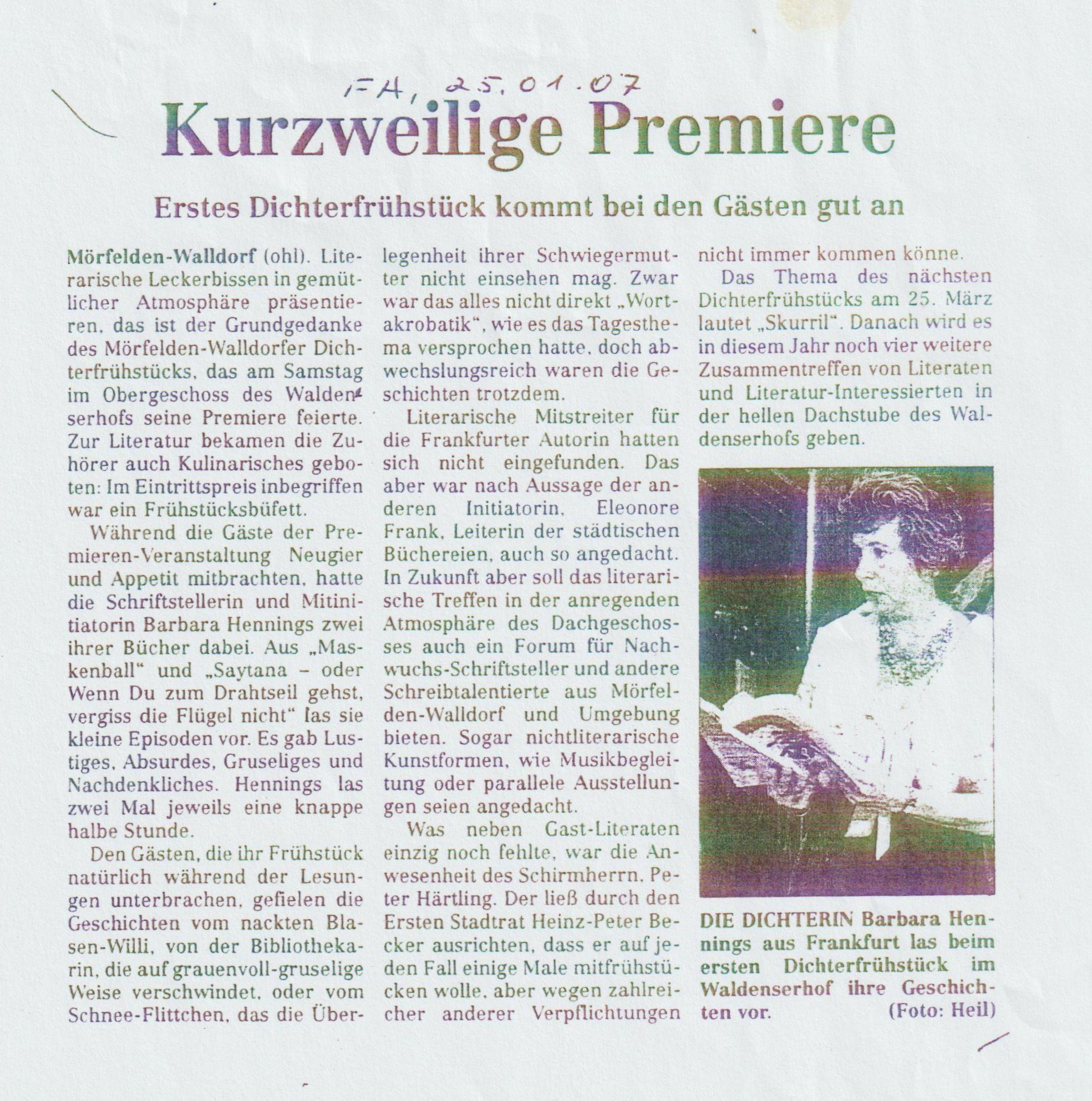 Dichterfrühstück Walldorf Premiere I