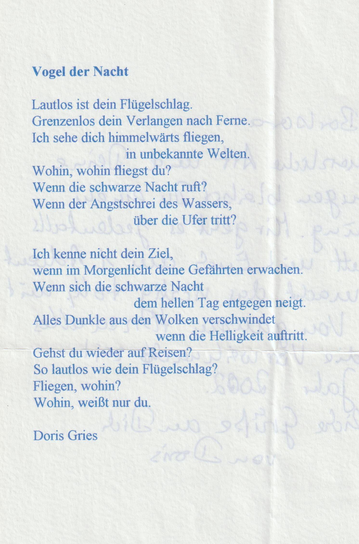 Gedicht Doris Gries