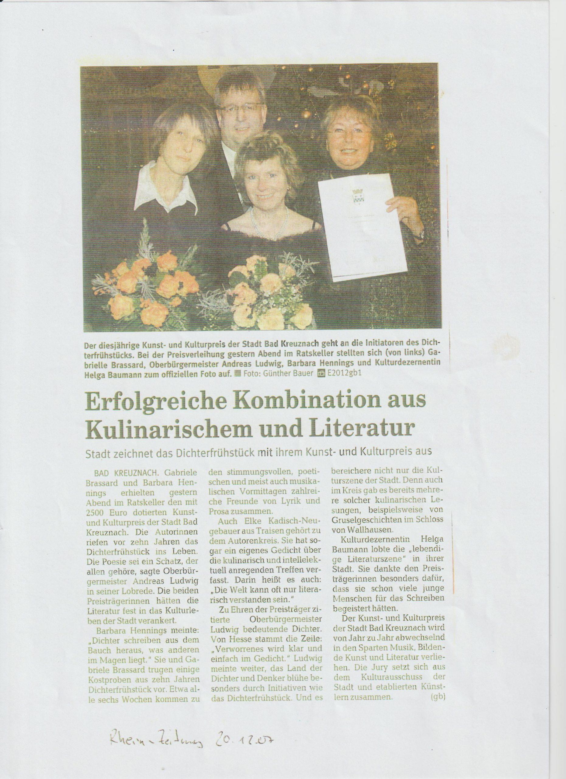 Zeitungartikel Kulturpreis I