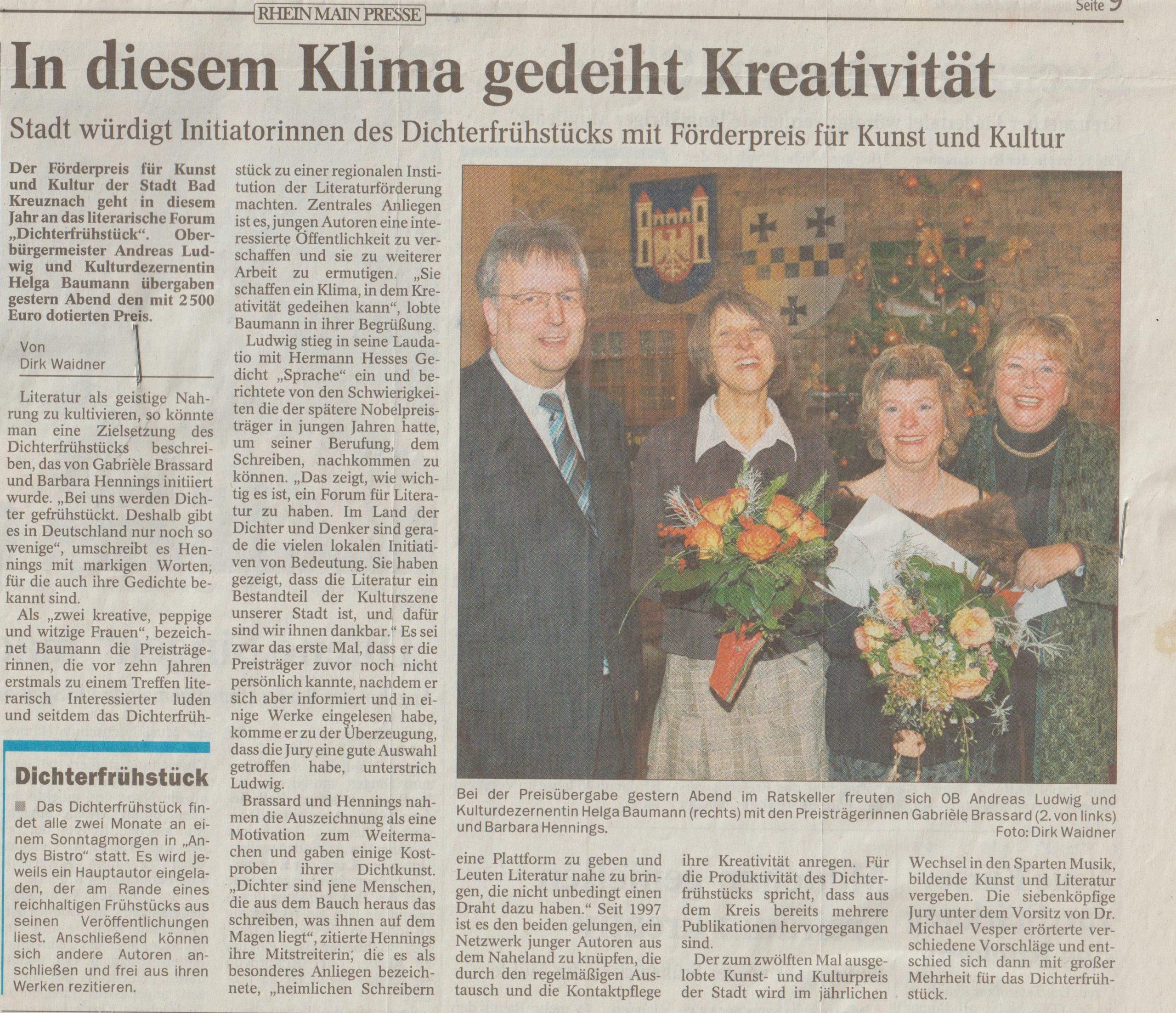 Zeitungartikel Kulturpreis II