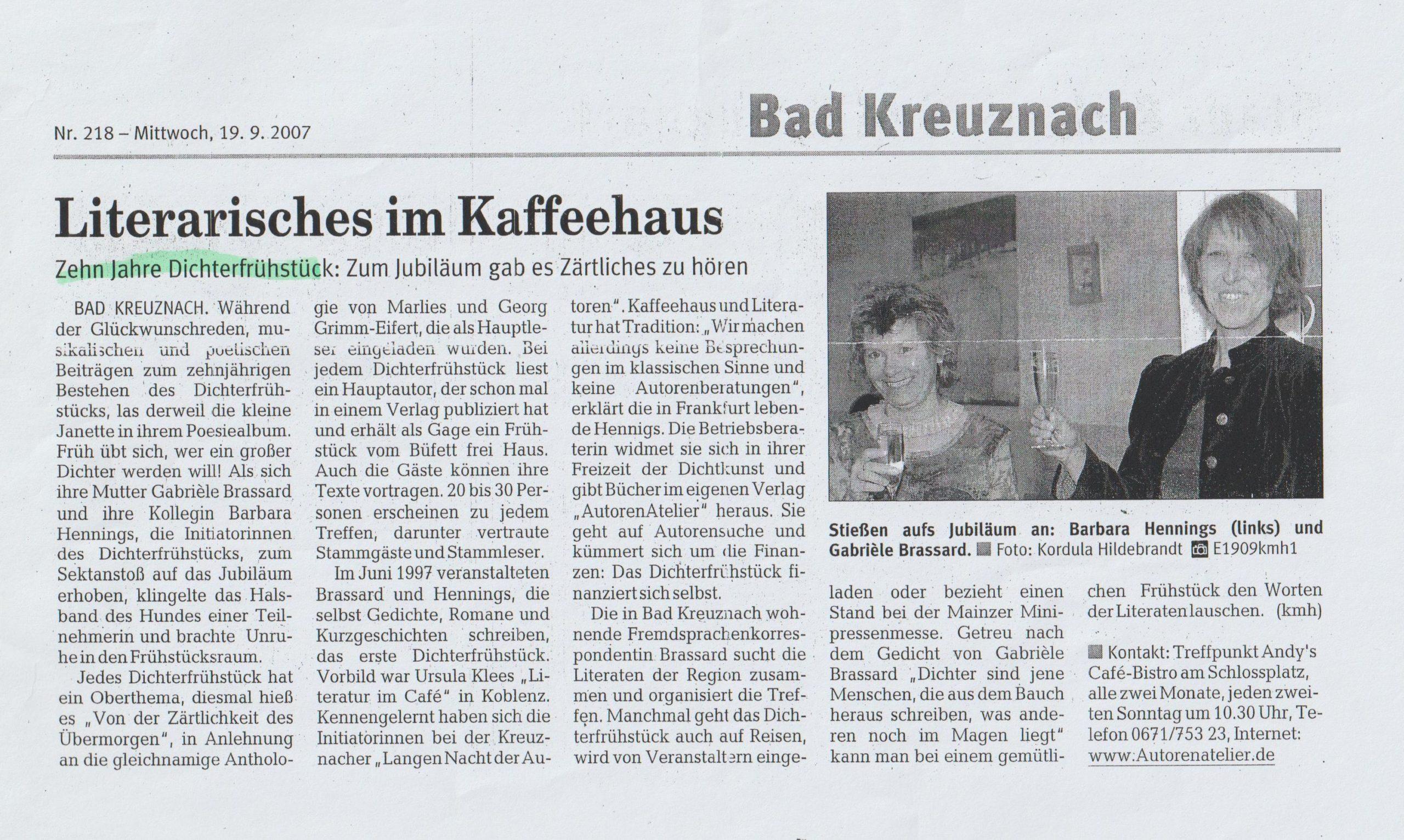Zeitungsartikel Jubiläum I
