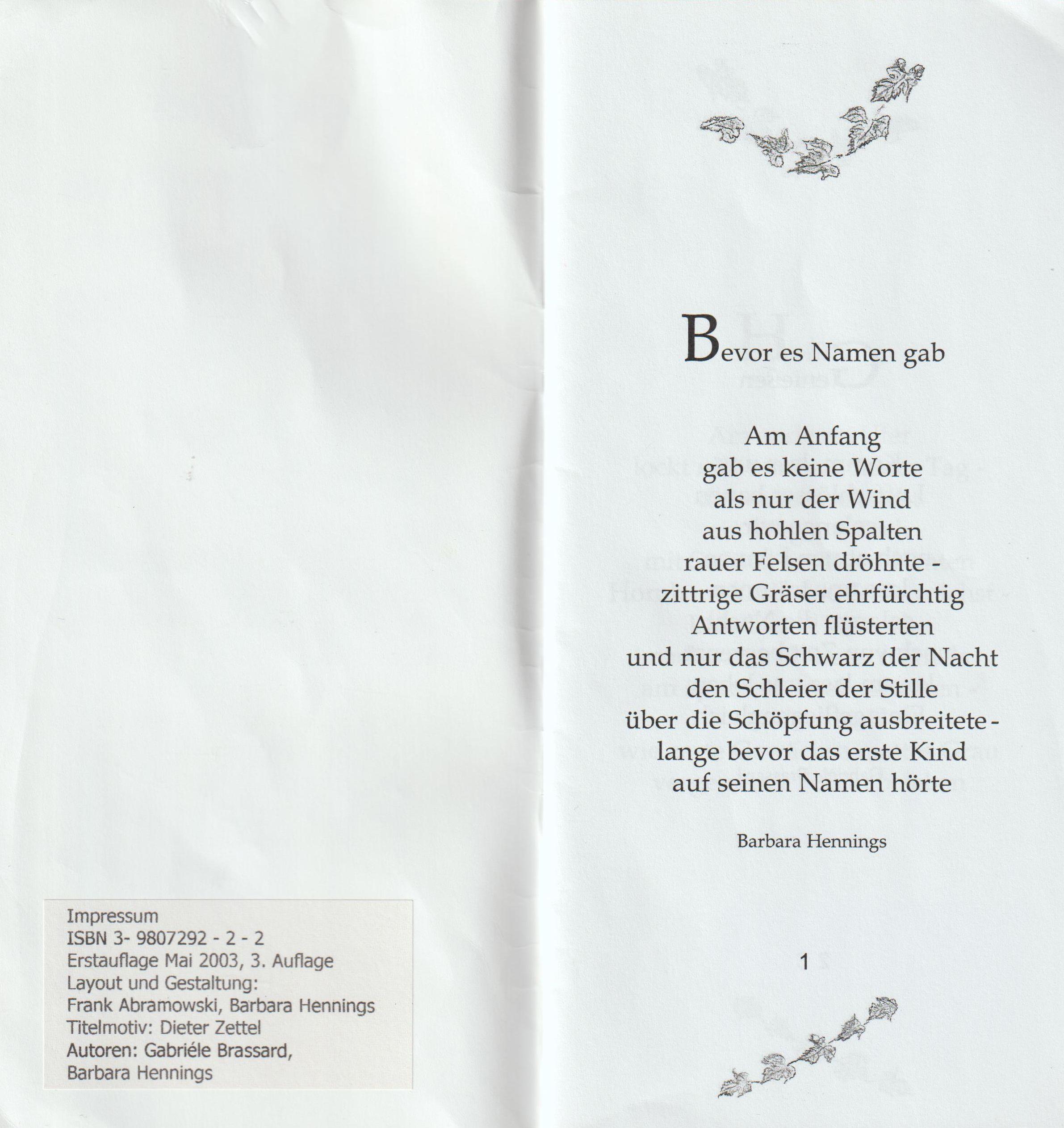 Gedichte erste Seite
