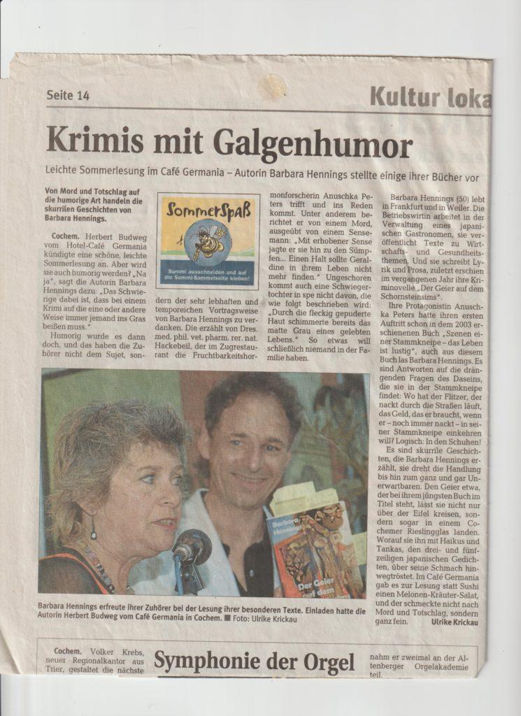 Zeitungsartikel Cafe Germania