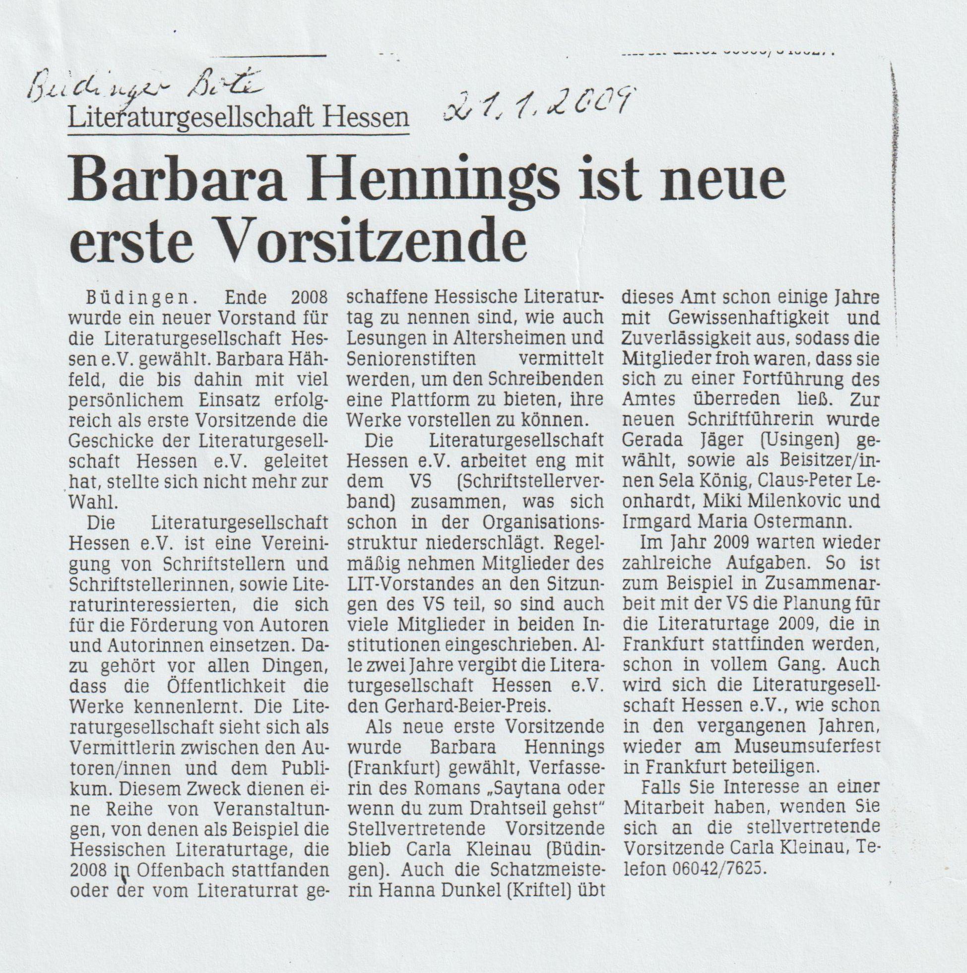 Zeitungsartikel Vorsitz Literaturgesellschaft 2
