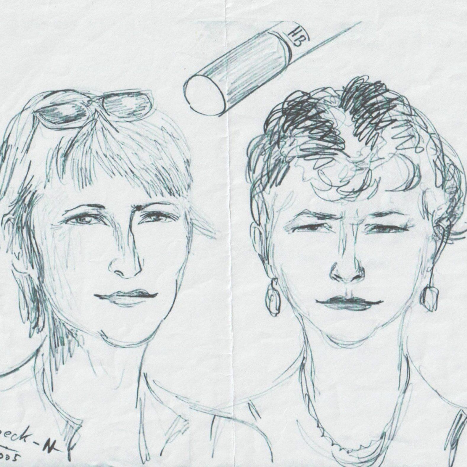 gezeichnetes Portrait Gabi und Barbara